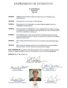 Fort Lauderdale Commission's expression of sympathy for Donna Fiori