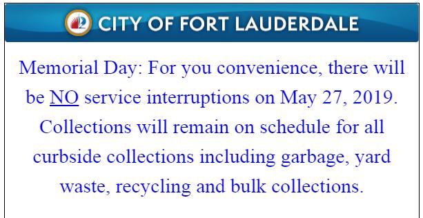 Memorial Day Service Schedule