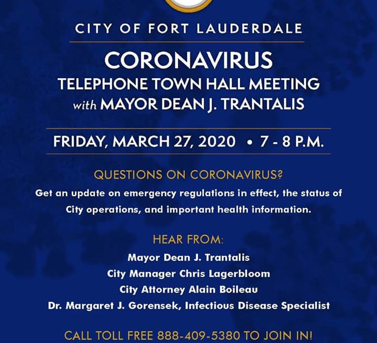 Mayor Dean Trantalis hosts an important coronavirus call tomorrow night at 7pm. …